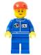 Minifig No: oct055b  Name: Octan - Blue Oil, Blue Legs, Red Short Bill Cap, Reddish Brown Eyebrows