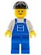 Minifig No: ovr002  Name: Overalls Blue with Pocket, Blue Legs, Black Construction Helmet