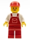 Minifig No: ovr008  Name: Overalls Red with Pocket, Red Legs, Red Cap