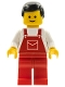 Minifig No: ovr010  Name: Overalls Red with Pocket, Red Legs, Black Male Hair