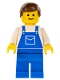 Minifig No: ovr012  Name: Overalls Blue with Pocket, Blue Legs, Brown Male Hair