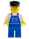 Minifig No: ovr015  Name: Overalls Blue with Pocket, Blue Legs, Black Hat