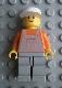 Minifig No: ovr023  Name: Overalls Light Gray with Pocket, Light Gray Legs, White Cap - Glued