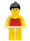Minifig No: par009a  Name: Red Halter Top - Yellow Legs, Black Ponytail Hair, Closed Mouth