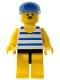 Minifig No: par027  Name: Horizontal Blue and Light Green Stripes, Yellow Legs, Blue Cap