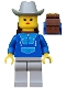 Minifig No: par046  Name: Jogging Suit, Light Gray Legs, Light Gray Cowboy Hat, Backpack