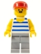 Minifig No: par056  Name: Horizontal Blue/White Stripes, Light Bluish Gray Legs, Red Cap