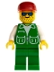 Minifig No: pck002  Name: Jacket Green with 2 Large Pockets - Green Legs, Red Cap