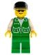 Minifig No: pck007  Name: Jacket Green with 2 Large Pockets - Green Legs, Black Cap