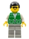 Minifig No: pck010  Name: Jacket Green with 2 Large Pockets - Light Gray Legs, Black Male Hair