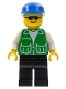 Minifig No: pck011  Name: Jacket Green with 2 Large Pockets - Black Legs, Blue Cap
