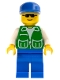 Minifig No: pck015  Name: Jacket Green with 2 Large Pockets - Blue Legs, Blue Cap