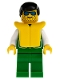 Minifig No: pck016  Name: Jacket Green with 2 Large Pockets - Green Legs, Black Male Hair, Life Jacket
