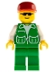 Minifig No: pck017  Name: Jacket Green with 2 Large Pockets - Green Legs, Red Cap, Black Sunglasses