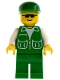 Minifig No: pck020  Name: Jacket Green with 2 Large Pockets - Green Legs, Green Cap