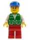 Minifig No: pck024  Name: Jacket Green with 2 Large Pockets - Red Legs, Blue Cap