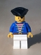 Minifig No: pi006new  Name: Pirate Blue Jacket White Legs, Black Pirate Triangle Hat Reissue