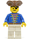 Minifig No: pi009  Name: Pirate Blue Jacket, White Legs, Brown Pirate Triangle Hat