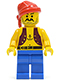 Minifig No: pi013  Name: Pirate Anchor Dark Purple Vest, Blue Legs, Red Bandana