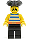 Minifig No: pi017  Name: Pirate Blue / White Stripes Shirt, Black Legs, Black Pirate Triangle Hat
