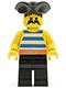 Minifig No: pi017  Name: Pirate Blue / White Stripes Shirt, Black Legs, Black Pirate Triangle Hat