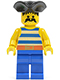 Minifig No: pi018  Name: Pirate Blue / White Stripes Shirt, Blue Legs, Black Pirate Triangle Hat