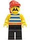 Minifig No: pi020  Name: Pirate Blue / White Stripes Shirt, Black Legs, Red Bandana