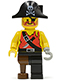 Minifig No: pi022  Name: Pirate Shirt with Knife, Black Leg with Peg Leg, Black Pirate Hat with Skull