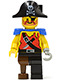 Minifig No: pi023  Name: Pirate Shirt with Knife, Black Leg with Peg Leg, Black Pirate Hat with Skull, Blue Epaulettes