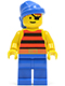 Minifig No: pi028  Name: Pirate Red / Black Stripes Shirt, Blue Legs, Blue Bandana