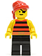 Minifig No: pi031  Name: Pirate Red / Black Stripes Shirt, Black Legs, Red Bandana