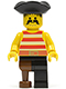 Minifig No: pi038  Name: Pirate Red / White Stripes Shirt, Black Leg with Peg Leg, Black Pirate Triangle Hat