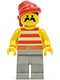 Minifig No: pi044  Name: Pirate Red / White Stripes Shirt, Light Gray Legs, Red Bandana