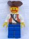 Minifig No: pi054  Name: Pirate Brown Vest Ascot, Blue Legs, Brown Pirate Triangle Hat