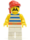 Minifig No: pi073  Name: Pirate Blue / White Stripes Shirt, White Legs, Red Bandana