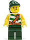 Minifig No: pi083  Name: Pirate Green / White Stripes, Dark Green Legs, Dark Green Bandana