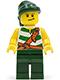 Minifig No: pi083  Name: Pirate Green / White Stripes, Dark Green Legs, Dark Green Bandana