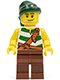 Minifig No: pi094  Name: Pirate Green / White Stripes, Reddish Brown Legs, Dark Green Bandana, Smirk and Stubble Beard