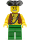 Minifig No: pi097  Name: Pirate Vest and Anchor Tattoo, Green Legs, Tricorne Hat