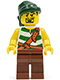 Minifig No: pi105  Name: Pirate Green / White Stripes, Reddish Brown Legs, Dark Green Bandana, Goatee