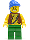 Minifig No: pi107  Name: Pirate Vest and Anchor Tattoo, Green Legs, Blue Bandana, Gold Tooth