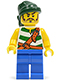 Minifig No: pi132  Name: Pirate Green / White Stripes, Blue Legs, Dark Green Bandana
