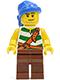 Minifig No: pi133  Name: Pirate Green / White Stripes, Reddish Brown Legs, Blue Bandana