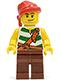 Minifig No: pi134  Name: Pirate Green / White Stripes, Reddish Brown Legs, Red Bandana