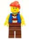 Minifig No: pi137a  Name: Pirate Blue Vest, Reddish Brown Legs, Red Bandana, Black Eyebrows