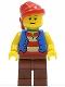 Minifig No: pi137b  Name: Pirate Blue Vest, Reddish Brown Legs, Red Bandana, Reddish Brown Eyebrows