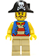 Minifig No: pi141  Name: Pirate Blue Vest, Tan Legs, Bicorne Hat with Skull, Long Brown Moustache