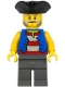 Minifig No: pi186  Name: Pirate - Black Pirate Triangle Hat, Blue Vest, Dark Bluish Gray Legs