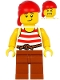 Minifig No: pi187  Name: Pirate - Red Head Wrap, White Shirt with Red Stripes, Dark Orange Legs