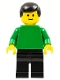 Minifig No: pln091  Name: Plain Green Torso with Green Arms, Black Legs, Black Male Hair